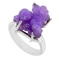 925 silver 11.23cts natural purple grape chalcedony solitaire ring size 7 r71658