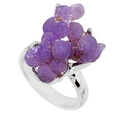 925 silver 13.77cts natural purple grape chalcedony solitaire ring size 7 r71669