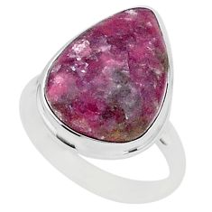 925 silver 16.90cts natural purple lepidolite pear solitaire ring size 11 t1498