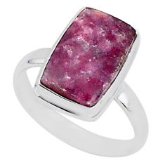 925 silver 8.14cts natural purple lepidolite solitaire ring size 12.5 t1484