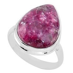 925 silver 16.43cts natural purple lepidolite solitaire ring size 10.5 t1500