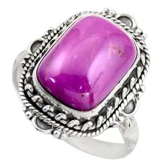 925 silver 6.62cts natural purple phosphosiderite solitaire ring size 8.5 d46350