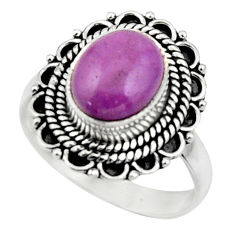 925 silver 4.09cts natural purple phosphosiderite solitaire ring size 7.5 r52624