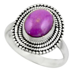 925 silver 4.46cts natural purple phosphosiderite solitaire ring size 7.5 r52627
