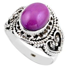 925 silver 4.28cts natural purple phosphosiderite solitaire ring size 6.5 r53318
