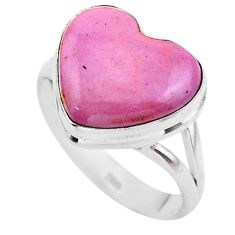 925 silver 6.27cts natural purple phosphosiderite solitaire ring size 9 t25079