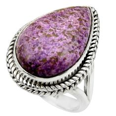 925 silver 14.26cts natural purple purpurite pear solitaire ring size 7.5 r28564
