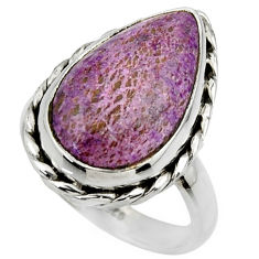 925 silver 11.13cts natural purple purpurite pear solitaire ring size 8 r28569
