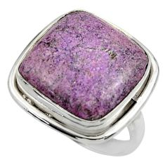 925 silver 12.69cts natural purple purpurite solitaire ring size 7.5 r28579