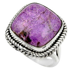 925 silver 13.96cts natural purple purpurite solitaire ring size 7 r28573