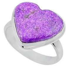 925 silver 11.17cts natural purple stichtite heart solitaire ring size 8 r63544