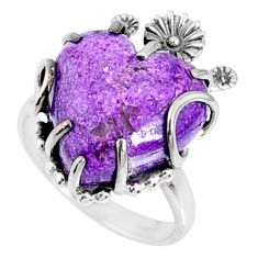 925 silver 12.05cts natural purple stichtite heart solitaire ring size 8 r67530