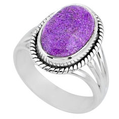 925 silver 5.38cts natural purple stichtite oval solitaire ring size 6.5 r63564