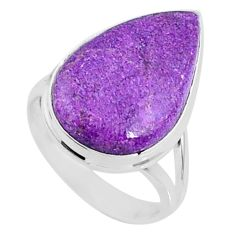 925 silver 11.57cts natural purple stichtite pear solitaire ring size 7 r66119