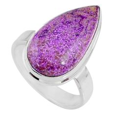 925 silver 10.02cts natural purple stichtite pear solitaire ring size 7 r66330