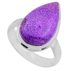 925 silver 12.62cts natural purple stichtite pear solitaire ring size 8 r66157
