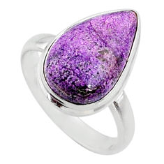925 silver 9.18cts natural purple stichtite solitaire ring jewelry size 8 r66337