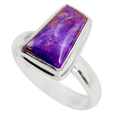 925 silver 5.63cts natural purple sugilite fancy solitaire ring size 7.5 r34400