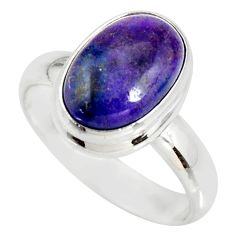 925 silver 5.13cts natural purple sugilite solitaire ring jewelry size 8 r34397