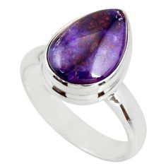 925 silver 5.36cts natural purple sugilite solitaire ring size 7.5 r34384