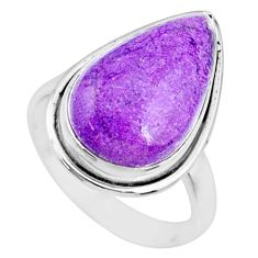 925 silver 8.40cts natural purpurite stichtite pear solitaire ring size 7 r73368