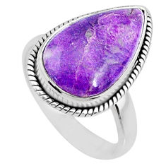 925 silver 9.05cts natural purpurite stichtite pear solitaire ring size 9 r73371