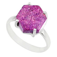 925 silver 4.22cts natural purpurite stichtite solitaire ring size 6 r81904