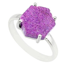 925 silver 4.45cts natural purpurite stichtite solitaire ring size 7 r81928