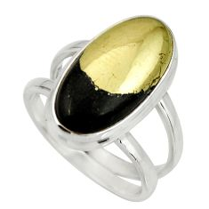 925 silver 6.32cts natural pyrite in magnetite oval solitaire ring size 7 r27234