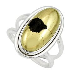 925 silver 6.94cts natural pyrite in magnetite oval solitaire ring size 7 r27239