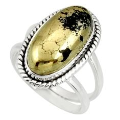 925 silver 6.33cts natural pyrite in magnetite solitaire ring size 7.5 r27226