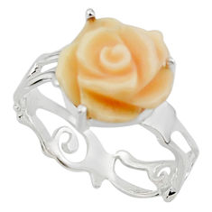 925 silver 5.03cts natural queen conch shell flower solitaire ring size 8 r48857