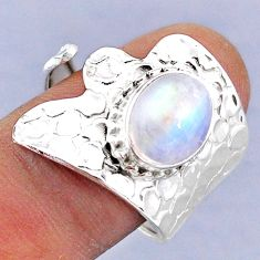 925 silver 4.25cts natural rainbow moonstone adjustable ring size 8.5 r63259