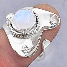 925 silver 3.09cts natural rainbow moonstone adjustable ring size 7 t8578