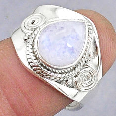 925 silver 4.07cts natural rainbow moonstone adjustable ring size 7.5 t8609