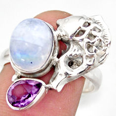 925 silver 6.08cts natural rainbow moonstone amethyst fish ring size 8 d46098