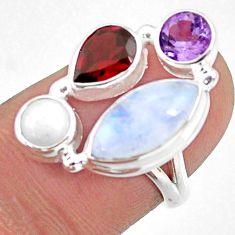 925 silver 9.18cts natural rainbow moonstone amethyst garnet ring size 6 r63950