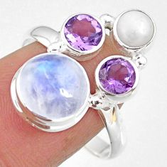 925 silver 8.51cts natural rainbow moonstone amethyst pearl ring size 9.5 r63976