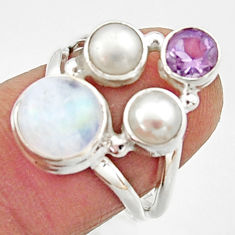 925 silver 5.83cts natural rainbow moonstone amethyst pearl ring size 6 r22971