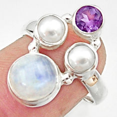 925 silver 5.52cts natural rainbow moonstone amethyst pearl ring size 7 r22974