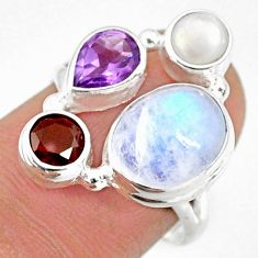 925 silver 9.61cts natural rainbow moonstone amethyst pearl ring size 7 r63944