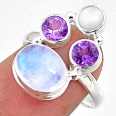 925 silver 7.65cts natural rainbow moonstone amethyst pearl ring size 8 r63913