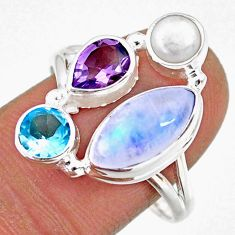 925 silver 9.53cts natural rainbow moonstone amethyst pearl ring size 9 r63919
