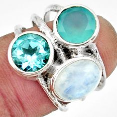 925 silver 7.54cts natural rainbow moonstone chalcedony topaz ring size 6 r26913