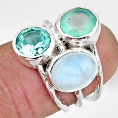 925 silver 7.54cts natural rainbow moonstone chalcedony topaz ring size 6 r26916