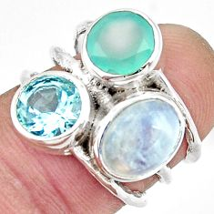 925 silver 7.54cts natural rainbow moonstone chalcedony topaz ring size 6 r26919