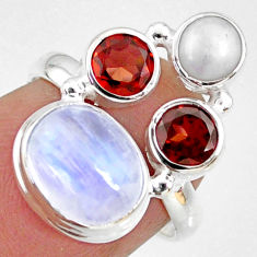 925 silver 8.51cts natural rainbow moonstone garnet pearl ring size 6 r63934