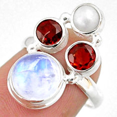 925 silver 8.06cts natural rainbow moonstone garnet pearl ring size 6 r63979