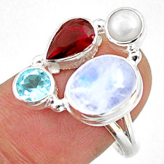 925 silver 9.61cts natural rainbow moonstone garnet pearl ring size 9 r63958