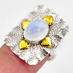 925 silver 4.01cts natural rainbow moonstone gold solitaire ring size 7 d46218